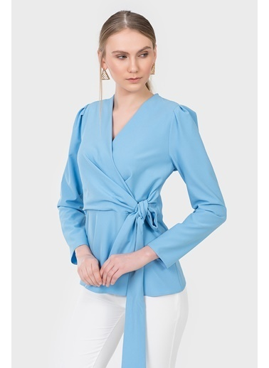 İroni Uzun Kollu Anvelop Bluz Mavi